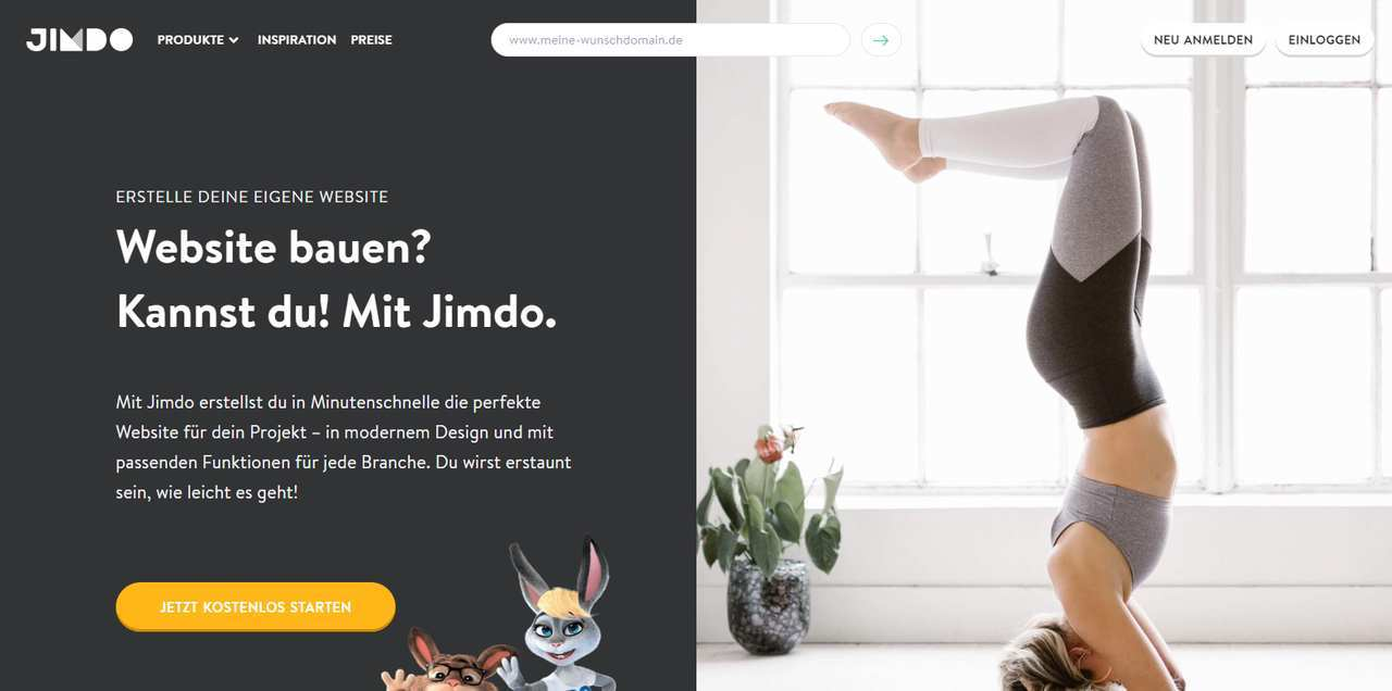 Jimdo Page mit Call-To-Action