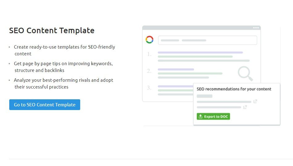 SEMrush SEO Toolkit SEO Content Template