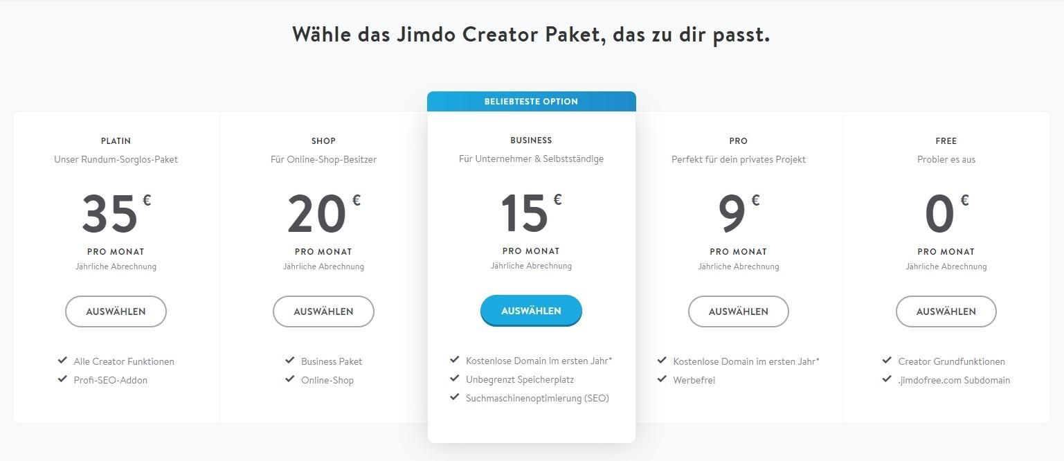 Jimdo Test Kosten Erfahrungen Vergleich Jimdo Dolphin Und Creator