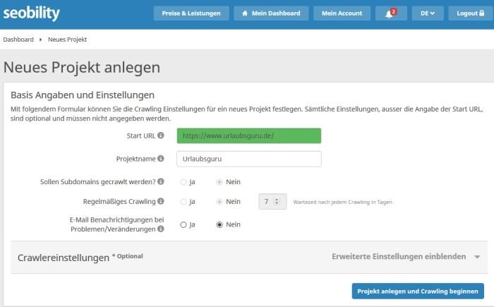 Seobility Projekt anlegen Wie kann ich mein Ranking bei Google verbessern